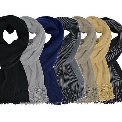 Classic Plain Tasselled Unisex Black Mens Wooly Womans Winter Ladies Ski Scarf