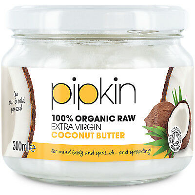 Pipkin 100% Pure Organic Raw Extra-Virgin Cold-Pressed Coconut Butter 300ml