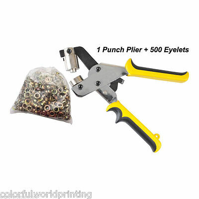 Manual Grommet Tool Eyelet Puncher for Eyelet #4 (10.5mm) with 500 Eyelets