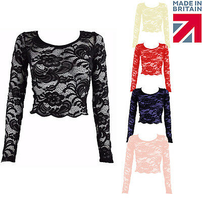 New Women Paisley Floral Lace Long Sleeve Scallop Edge Crop Stretch Top UK 8-14