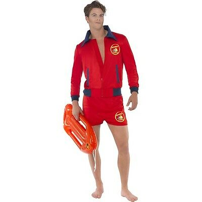 Men's Licensed Baywatch Beach Lifeguard Shorts & Jacket Fancy Dress Costume Stag