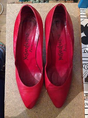 YSL vintage vixen sexy red leather pumps heels yves saint laurent italy 3.5/6.5