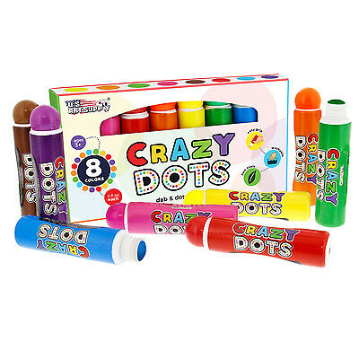 8 Color Crazy Dots Dab & Dot Markers Washable Easy Grip Non-Toxic Paint Marker