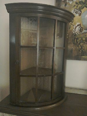 Good Quality Antique oak bow fronted glazed display corner cabinet.