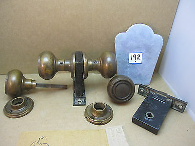 2 sets heavy solid Brass Door Knobs & rosettes, spindle Sargent locks art deco