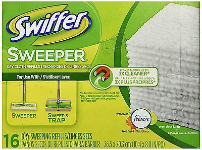 Swiffer 31821 SWEEPER DRY SWEEPING REFILLS CLOTHS 16/PACK UNSCENTED cleaning NEW