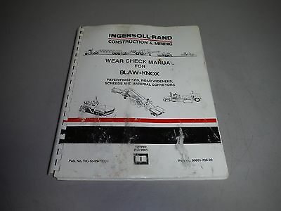 Ingersoll Rand IR Blaw-Knox Paver Finisher Road Widener Screed Wear Check Manual
