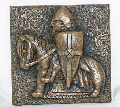 Isle Of Lewis Knight Plaque - Cold Cast Bronze Sculpture by John Rattenbury