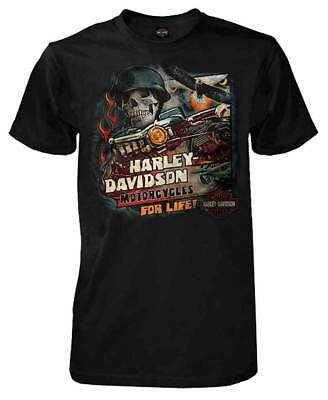 Harley-Davidson Men's Vintage For Life Skull Short Sleeve T-Shirt, Black