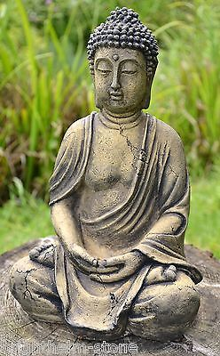 "Buddha Statue stone garden ornament seated meditating ""Small Thai"" 30cm/12"" H"