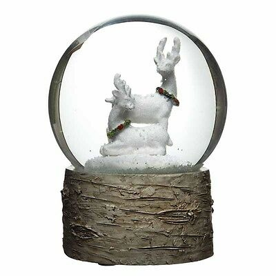 Luxury - White Reindeer Snowglobe With Wood Effect Resin Base