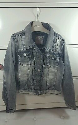 Girls Next Denim Jacket Age 7-8 Years Grey LOVELY CONDITION! bleach washed
