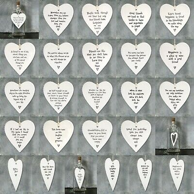 East of India Porcelain Hanging Hearts Angels Stars Birds Butterfly Gift