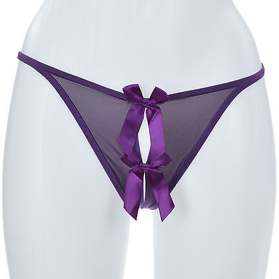 Femme STRING OUVERT FICELLE CULOTTE 34 36 38 40 42 MURMURE VIOLET ZAZA2CATS