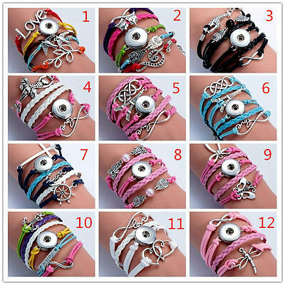 12pcs Lot Mix Style Snap Infinity Leather Bracelet Jewelry Fit 18mm Ginger Snaps