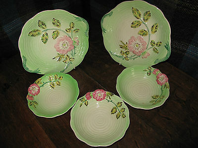 Vintage Rose Decorated ceramics Shorter & Son Plates & Bowls  5 items