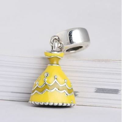 Authentic Pandora Sterling Charms Bead S925 Disney Belle's Yellow Dress Frozen