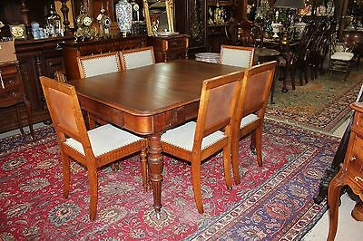 Beautiful German Antique Walnut Table & 6 Dining Chairs