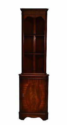 Bevan Funnell English Mahogany Inlaid Hand Carved Open Corner Cabinet w.key