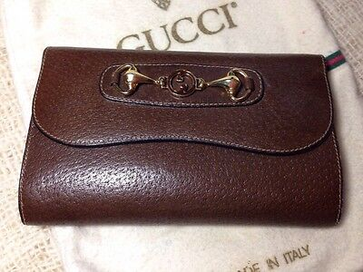 Vintage Gucci Wallet Billfold  Classic Horsebid Brown Leather X-mas!!! Excellent