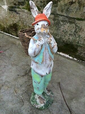 Vintage Style Sweetbrier Rabbit Bunny with Wicker Basket Figurine 12""