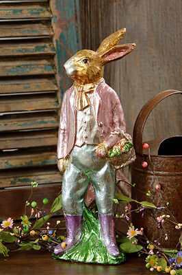 """FAUX Chocolate Rabbit Foil Wrapped ~ Bunny Rabbit Carrots 17"""" Discontinued"""