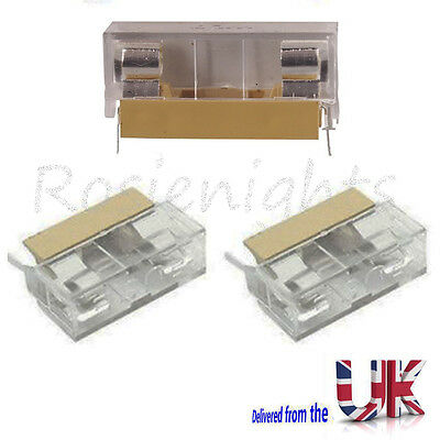 Panel Mount PCB Fuse Holder Case With Cover For 5x20mm Fuse 250V 6A Uk