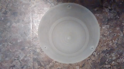 Vintage Antique Frosted Glass Shade Ceiling Light Fixture 3-hole raised flower