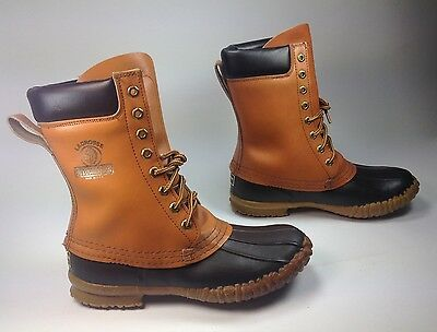 Men's LaCrosse Outdoors Brown Leather Black Rubber 8-Eye Ankle Duck Boots Sz.8