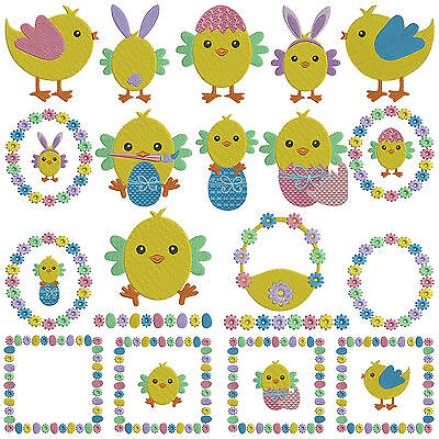 * EASTER CHICKENS * Machine Embroidery Patterns * 20 Designs in 3 Sizes