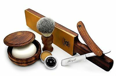 Vintage Style Men's Shaving/Grooming Set of 6 Pieces Made From Pure Rose Wood