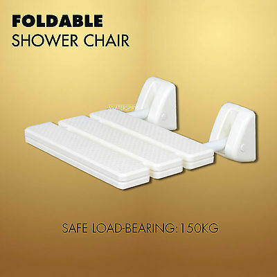 Wall Mounted Shower Chair Seat Stool Assisted Bath Foldable Restroom Cream White