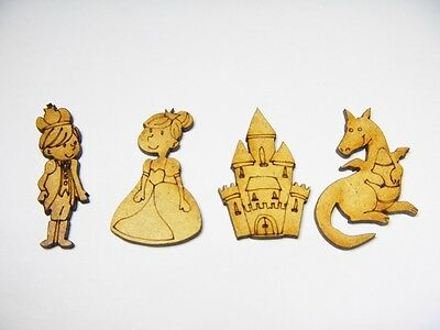 12 x Fairy Tale Mini Wood Craft Cutouts - Princess Prince Dragon Castle DIY