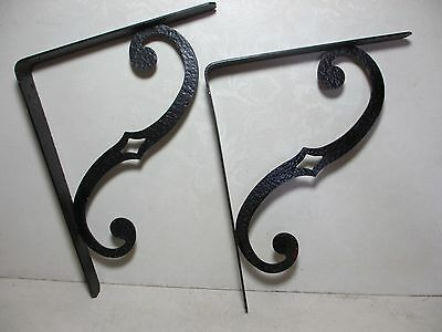 "Matched Set Vintage Wrought Brackets 11x9"" S Scroll with Diamond Shaped Cut Out"