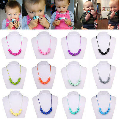 Baby Silicone Teether Chain Charm Polygon Beads Necklace Teething Toy Jewelry