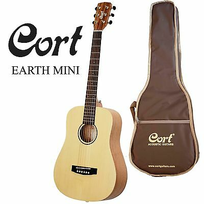 CORT EARTH MINI SOLID TOP ACOUSTIC TRAVELLER GUITAR with GIG BAG - EARTHM