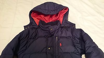 KIDS Polo RALPH LAUREN COAT *size 6* NAVY BLUE & RED PUFFY JACKET Removable Hood