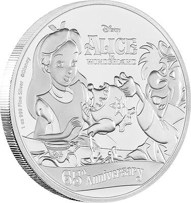 2016 Disney 65th Anniversary Of Alice In Wonderland 1oz Silver Coin