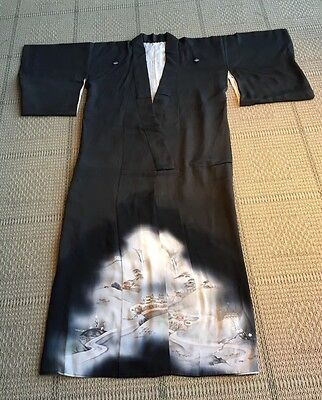 Japanese Silk Full Length Kimono Hand Painted Hand Embroidered With Silk
