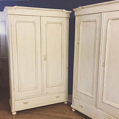 2 Pine Pair Matching Antique Vintage White Painted Wardrobe French Style Armoire