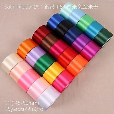 25 Yards Of Satin Ribbon 50MM 2'' Mut Colours Sold In Roll Craft Wedding
