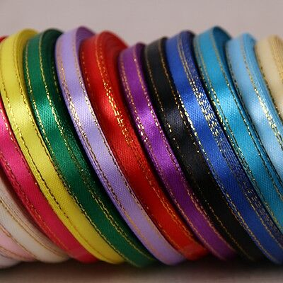 """25yards Of 6mm (1/4"""") Edge Gold/Silver Satin Ribbon Rolls Many Colours"""