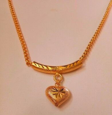 Gold Plated Necklace Coated Chain Pendant 24k Yellow