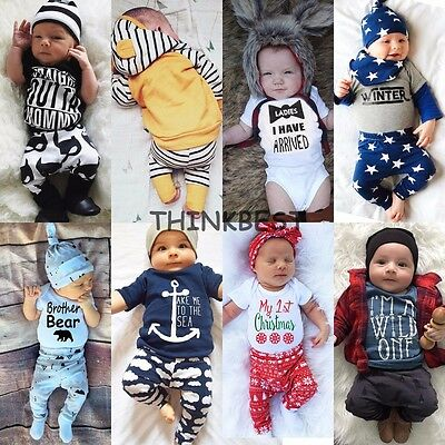 2Pcs Toddler Infant Baby Boy Girl Clothes T-shirt +Pants Outfits Set Sizes 000-2