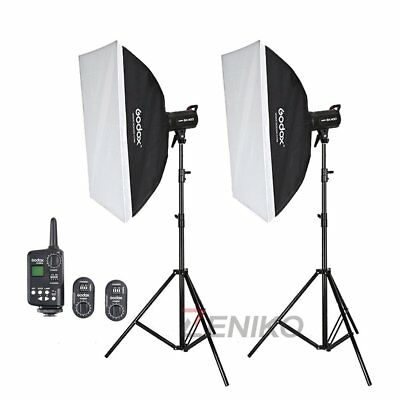 2X Godox SK400 Studio Flash Strobe + FT-16 Trigger + Softbox + Light Stand Kit