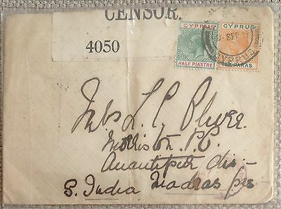Cyprus 1917 Kgv Rare Censored Cover Used To India!!