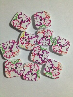 20 X 19mm Square Painted Wooden Buttons - Australian Supplier