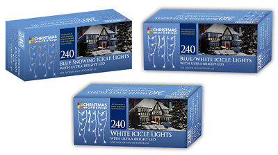240 Snowing Icicle Ultra Bright LED Lights Christmas Workshop Indoor Outdoor