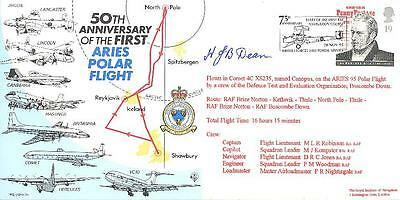 CC6 RAF First Polar ARIES Flight Lancaster North Pole cover signed LAC Dean AFM