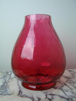 Antique Honeycombe Moulded Cranberry Red Glass Beehive Heater / Oil Lamp Shade